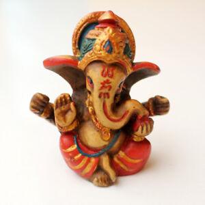 """Handpainted Baby Ganesh Resin Statue 2.5"""""""