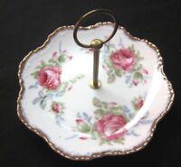 Lefton's Japan 6in Porcelain Floral Gilt Platter Vintage W/ Handle Jewelry Candy
