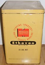 VTG RARE '40/50s Monsanto ETHAVAN 25lb Tin Litho Crate Container Candy Flavoring