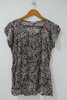 Target Collection Blouse Size 12 Multicolored Floral Pattern Short Sleeve