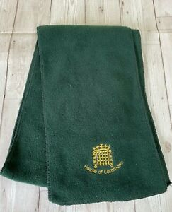 House Of Commons Green Fleece Scarf Featuring A Small Portcullis Symbol In Gold