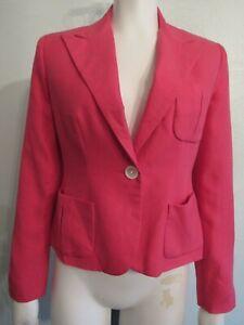 RALPH LAUREN PETITE Women's 2P Hot Pink One Button LS Spring Blazer Jacket NWT