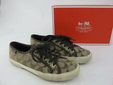 Coach Kalyn Signature C Sneakers Womens Size 7.5 Canvas Shoes Khaki Chestnut