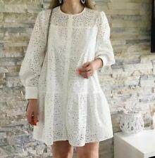 ZARA WHITE EMBROIDERED MINI DRESS SIZE XS 8