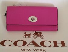 COACH 52345 PINK/ RED EMBOSSED TEXTURED LEATHER ENVELOPE WALLET POPUP POUCH NWT