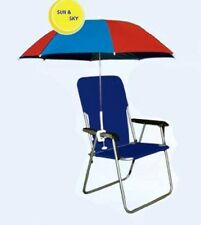 CLIP UMBRELLA CLAMP-ON Chair Lounger Beach Pool Camping Outdoor Sun Sky RED BLUE