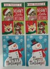 8 Happy Holiday Greeting Cards Christmas Designs with Envelopes