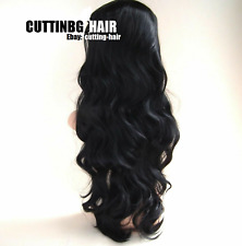 CUTTING HAIR - Sexy Jet Black Perfect Layers Long Curly 3/4 Wig Half Wig 057-1