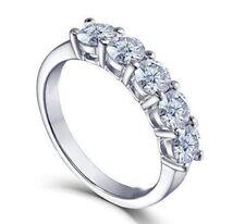 Engagement Ring Solid 14k White Gold 2.Carat Near White Round Moissanite 5 Stone