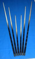 6 Assorted Pool Billiards Snooker Table Cues 36, 48, 57 inch (91cm 122m 145cms)