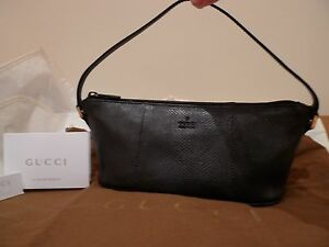 GUCCI 100%AUTHENTIC PYTHON SNAKE SKIN BLACK SMALL BAG PURCE ITALY