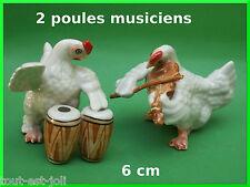 deux poules musiciens miniature en porcelaine, collection,violon, collector *C10