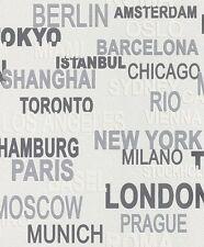 Vlies Tapete Kids Club 766707 Rasch grau weiß Stadtnamen New York Paris Berlin