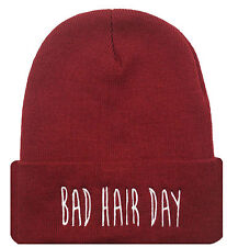 TRENDY COOL HIP CUFFED BAD HAIR DAY BEANIE HAT SKULL CAP BURGUNDY/WHITE
