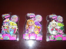 NEW Shopkins Shoppies - 3 Doll Set - Rainbow Kate, Pam Cake & Sara Sushi