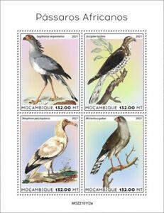 Mozambique 2021 MNH African Birds on Stamps Secretarybird Goshawk Vultures 4v MS