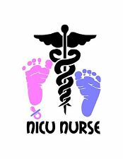 NICU Nurse / Medical symbol and text is White