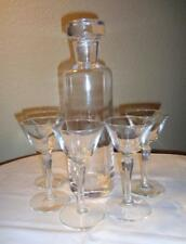 "Vintage Decanter & 5 Cordial Stems ""Elegant, Clear Glass Set"""