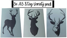 Shabby Chic Stag variety A3 Stencil selection pack Vintage 420x297mm wall art