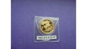 1982 Gold Proof Full Sovereign in a Coin Capsule Only.