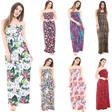 New Womens Ladies Printed Sheering Boobtube Bandeau Maxi Summer Dress Plus Size