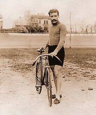 "Vintage bicycle racer guy, Mustache, Leon Georget,photo, BIKE, 20""x16"" ART Print"