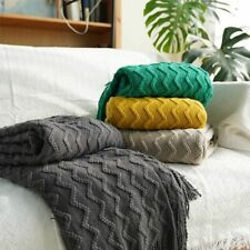 Throw Blanket Warm Knitted Textured Solid for Winter Bed Sofa Couch Soft Towel
