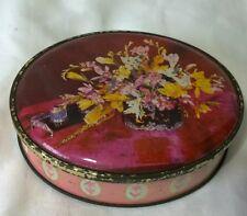 Vintage retro Kent English Sharps toffee tin pink yellow floral freesias writing