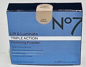 No7 Lift & Luminate Triple Action Finishing Powder ~ Light Medium,new..