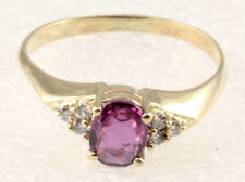14K Yellow Gold Sz 7 3/4 Wholesale Pink Purple Sapphire Diamond Right Hand Ring