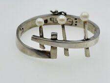 Sigi Pineda Taxco Vintage Mexican Sterling Silver & Pearl Modernist Bracelet