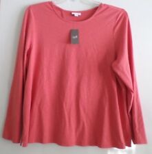 NWT-J.JILL WRAPPED-BACK STRETCH KNIT LS TOP/TEE-XL-PINK CLOVE-$59-NICE!