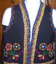 Black Wool Embroidered Ethnic Boho Handmade Vest Sz XS