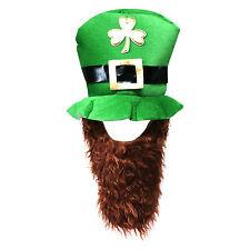 Light Green St Patrick's Day Novelty Fancy Dress Leprechaun Hat with Beard