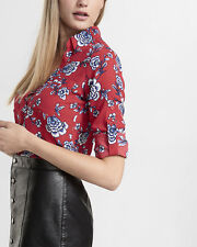 NEW 2016 WOMENS EXPRESS slim fit red  CONVERTIBLE floral PORTOFINO SHIRT L