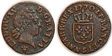 LOUIS XV  LIARD A LA VIEILLE TETE 1770 S REIMS G.272