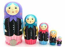 Genuine Russian Nesting dolls 5 Traditional PASTEL BLUE PINK LILAC MATRYOSHKA