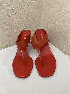 Prada Coral Patent Leather Kitten-Heel Thong Sandals Women Size 38.5/ US 8