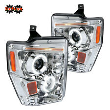 08-10 Ford F250 F350 Super Duty Chrome Housing  Projector Headlights Halo LED