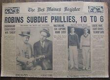 March 13, 1931 Iowa Newspaper ROBINS SUBDUE PHILLIES, Loughran & Schaaf, Tarzan