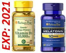 Vitamine D3 10000 100 Capuchons - Mélatonine 10MG Somnifères 60 Total 160 Gels
