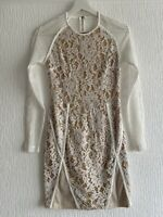 NUDE CREAM MESH DRESS LACE 10 PLT CLUB PARTY TOWIE PRETTY GLAM CHIC SMART SUMMER