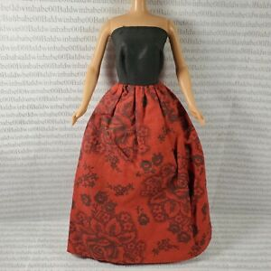 EVENING W ~ DRESS ~ BARBIE FASHION DOLL SIZE RED BLACK FLORAL STRAPLESS GOWN