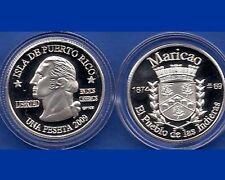 Silver PESETA MARICAO  2009 Puerto Rico Boricua Quarter 1/100 Plata