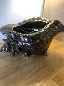 Ceramic Planter Jardinier Plant Pot Gold Art Pottery Shell Shaped Large