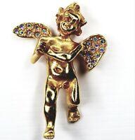 Kirks Folly Praying Angel Pendant Cherub Rhinestones Crystals Gold Tone Signed