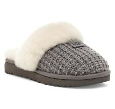 UGG Women's Cozy Knit Genuine Shearling Slippers in Charcoal Knit sz. 8