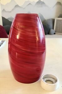 Drop Pendant Lamp Red Swirl Glass Shade + Fitting Replacement 8""