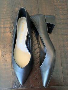 Anne Klein 8 Black Leather Pointed Toe Pump Heel Women Shoe Norwood AK192008