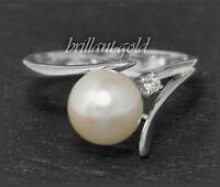 Diamant und Perlen Ring aus 585 Gold, Weißgold, 7,5mm weiße Perle & 2mm Brillant